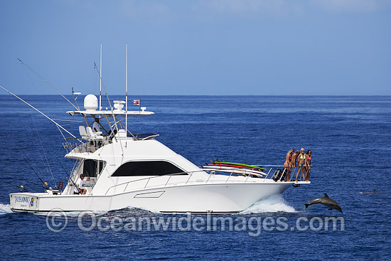 Gamefishing boat with dolphin at bow stock photo for Fishing boat games
